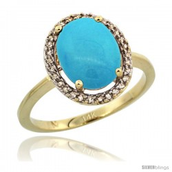 14k Yellow Gold Diamond Sleeping Beauty Turquoise Halo Ring 2.4 carat Oval shape 10X8 mm, 1/2 in (12.5mm) wide