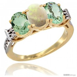 10K Yellow Gold Natural Opal & Green Amethyst Sides Ring 3-Stone Oval 7x5 mm Diamond Accent