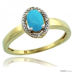 14k Yellow Gold Diamond Halo Sleeping Beauty Turquoise Ring 0.75 Carat Oval Shape 6X4 mm, 3/8 in (9mm) wide
