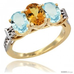 10K Yellow Gold Natural Citrine & Aquamarine Sides Ring 3-Stone Oval 7x5 mm Diamond Accent