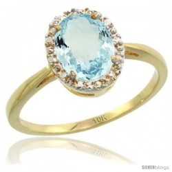 10k Yellow Gold Aquamarine Diamond Halo Ring 1.17 Carat 8X6 mm Oval Shape, 1/2 in wide