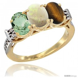 10K Yellow Gold Natural Green Amethyst, Opal & Tiger Eye Ring 3-Stone Oval 7x5 mm Diamond Accent