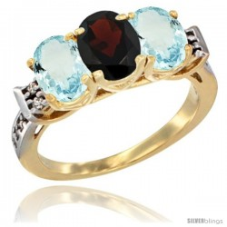 10K Yellow Gold Natural Garnet & Aquamarine Sides Ring 3-Stone Oval 7x5 mm Diamond Accent