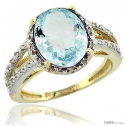 10k Yellow Gold Diamond Halo Aquamarine Ring 3 Carat Oval Shape 11X9 mm, 7/16 in (11mm) wide