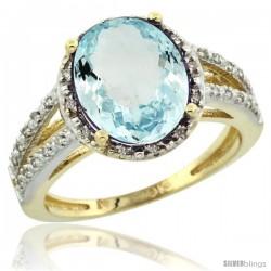 10k Yellow Gold Diamond Halo Aquamarine Ring 3 Carat Oval Shape 11X9 mm, 7/16 in (11mm) wide