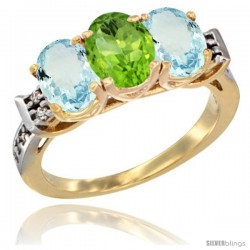10K Yellow Gold Natural Peridot & Aquamarine Sides Ring 3-Stone Oval 7x5 mm Diamond Accent
