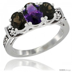 14K White Gold Natural Amethyst & Smoky Topaz Ring 3-Stone Oval with Diamond Accent