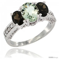 14k White Gold Ladies Oval Natural Green Amethyst 3-Stone Ring with Smoky Topaz Sides Diamond Accent