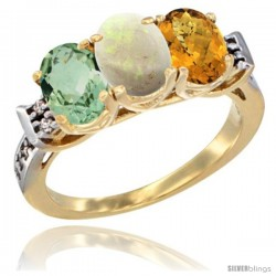 10K Yellow Gold Natural Green Amethyst, Opal & Whisky Quartz Ring 3-Stone Oval 7x5 mm Diamond Accent