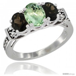 14K White Gold Natural Green Amethyst & Smoky Topaz Ring 3-Stone Oval with Diamond Accent