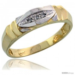 10k Yellow Gold Ladies Diamond Wedding Band Ring 0.02 cttw Brilliant Cut, 3/16 in wide -Style Ljy021lb