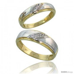 10k Yellow Gold Diamond Wedding Rings 2-Piece set for him 7 mm & Her 5.5 mm 0.05 cttw Brilliant Cut