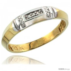 10k Yellow Gold Ladies Diamond Wedding Band Ring 0.02 cttw Brilliant Cut, 5/32 in wide -Style Ljy022lb