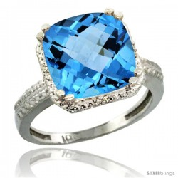 10k White Gold Diamond Swiss Blue Topaz Ring 5.94 ct Checkerboard Cushion 11 mm Stone 1/2 in wide