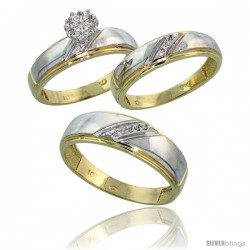 10k Yellow Gold Diamond Trio Engagement Wedding Ring 3-piece Set for Him & Her 7 mm & 5.5 mm wide 0.09 cttw Brilliant Cut