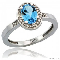 10k White Gold Diamond Swiss Blue Topaz Ring 1 ct 7x5 Stone 1/2 in wide