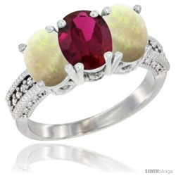 14K White Gold Natural Ruby & Opal Sides Ring 3-Stone 7x5 mm Oval Diamond Accent