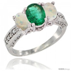 14k White Gold Ladies Oval Natural Emerald 3-Stone Ring with Opal Sides Diamond Accent