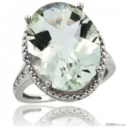 Sterling Silver Diamond Natural Green Amethyst Ring Ring 13.56 Carat Oval Shape 18x13 mm, 3/4 in (20mm) wide