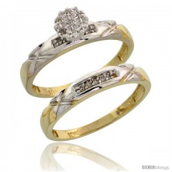 10k Yellow Gold Diamond Engagement Rings Set 2-Piece 0.09 cttw Brilliant Cut, 1/8 in wide
