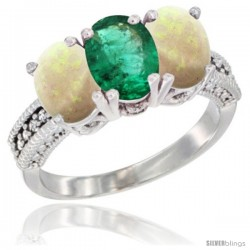 14K White Gold Natural Emerald & Opal Sides Ring 3-Stone 7x5 mm Oval Diamond Accent