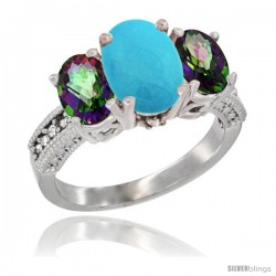 10K White Gold Ladies Natural Turquoise Oval 3 Stone Ring with Mystic Topaz Sides Diamond Accent
