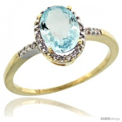 10k Yellow Gold Diamond Aquamarine Ring 1.17 ct Oval Stone 8x6 mm, 3/8 in wide