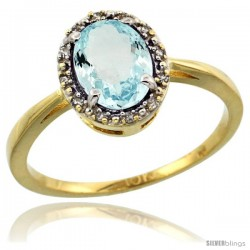 10k Yellow Gold Diamond Halo Aquamarine Ring 1.2 ct Oval Stone 8x6 mm, 1/2 in wide