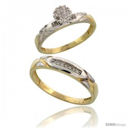 10k Yellow Gold Diamond Engagement Rings 2-Piece Set for Men and Women 0.10 cttw Brilliant Cut, 4 mm & 3.5 mm wide