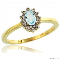 10k Yellow Gold Diamond Halo Aquamarine Ring 0.25 ct Oval Stone 5x3 mm, 5/16 in wide
