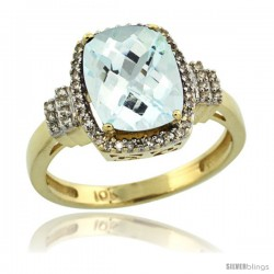 10k Yellow Gold Diamond Halo Aquamarine Ring 2.4 ct Cushion Cut 9x7 mm, 1/2 in wide