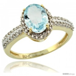 10k Yellow Gold Diamond Halo Aquamarine Ring 1.2 ct Oval Stone 8x6 mm, 3/8 in wide