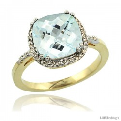 10k Yellow Gold Diamond Aquamarine Ring 3.05 ct Cushion Cut 9x9 mm, 1/2 in wide