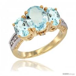 10K Yellow Gold Ladies 3-Stone Oval Natural Aquamarine Ring Diamond Accent