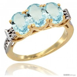 10K Yellow Gold Natural Aquamarine Ring 3-Stone Oval 7x5 mm Diamond Accent