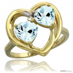 10k Yellow Gold 2-Stone Heart Ring 6mm Natural Aquamarine Stones