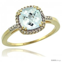 10k Yellow Gold Diamond Aquamarine Ring 1.5 ct Checkerboard Cut Cushion Shape 7 mm, 3/8 in wide