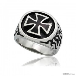 Surgical Steel Biker Ring Maltese Cross with Flames 11/16 in long