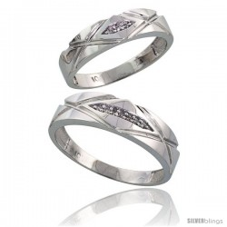 Sterling Silver 2-Piece His (6mm) & Hers (5mm) Diamond Wedding Band Set, w/ 0.06 Carat Brilliant Cut Diamonds