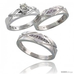 Sterling Silver 3-Piece Trio His (6mm) & Hers (5mm) Diamond Wedding Band Set, w/ 0.12 Carat Brilliant Cut Diamonds