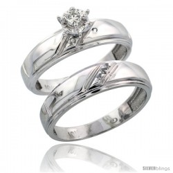 Sterling Silver 2-Piece Diamond Engagement Ring Set, w/ 0.06 Carat Brilliant Cut Diamonds, 7/32 in. (5.5mm) wide