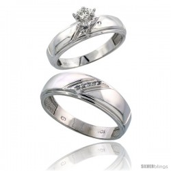 Sterling Silver 2-Piece Diamond Ring Set ( Engagement Ring & Man's Wedding Band ), w/ 0.07 Carat Brilliant Cut Diamonds