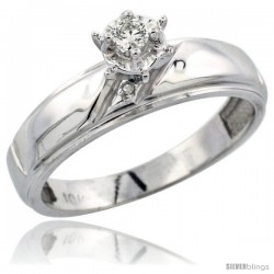Sterling Silver Diamond Engagement Ring, w/ 0.04 Carat Brilliant Cut Diamonds, 7/32 in. (5.5mm) wide