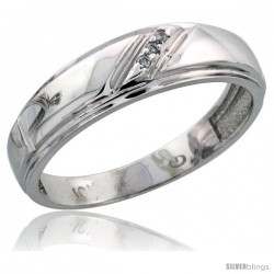 Sterling Silver Ladies' Diamond Band, w/ 0.02 Carat Brilliant Cut Diamonds, 7/32 in. (5.5mm) wide