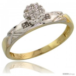 10k Yellow Gold Diamond Engagement Ring 0.06 cttw Brilliant Cut, 1/8 in wide