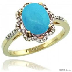 14k Yellow Gold Diamond Halo Turquoise Ring 1.65 Carat Oval Shape 9X7 mm, 7/16 in (11mm) wide