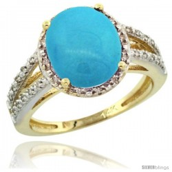 14k Yellow Gold Diamond Halo Sleeping Beauty Turquoise Ring 2.85 Carat Oval Shape 11X9 mm, 7/16 in (11mm) wide