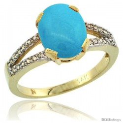 14k Yellow Gold and Diamond Halo Sleeping Beauty Turquoise Ring 2.4 carat Oval shape 10X8 mm, 3/8 in (10mm) wide