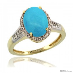 14k Yellow Gold Diamond Sleeping Beauty Turquoise Ring 2.4 ct Oval Stone 10x8 mm, 1/2 in wide