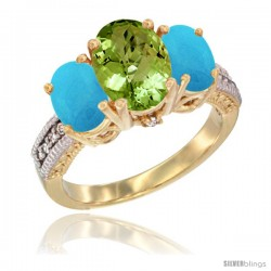 14K Yellow Gold Ladies 3-Stone Oval Natural Peridot Ring with Turquoise Sides Diamond Accent